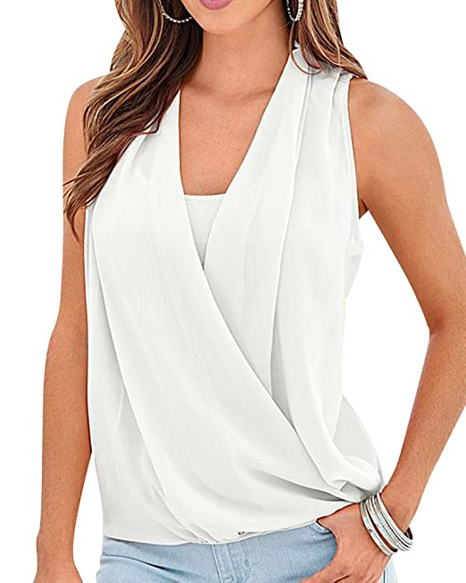 Mujeres Casual Color Sólido V Cuello Sin Mangas Camisetas Blusas Tops: Amazon.es: Ropa y accesorios