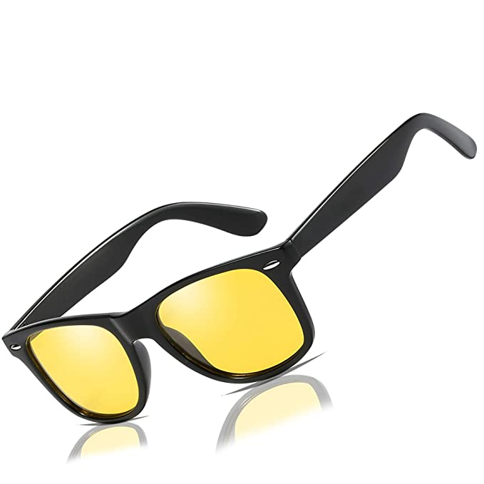 0423154f19b Mens Womens Classic Retro Night Vision Polarized Yellow Driving Glasses Anti -glare Rain Day Sun