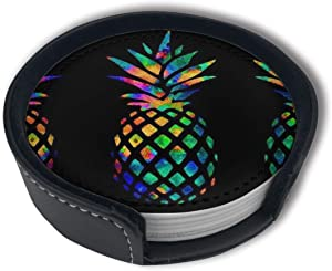 Rainbow Pineapple Drink Coasters Cup Mat Pad Place Mats for Bar Kitchen Home Decor to Protect Tables and Countertops (6pcs)
