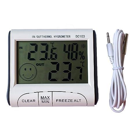 TopSun Termómetros digitales de temperatura Monitor de humedad de temperatura multifuncional con alarma de punto de