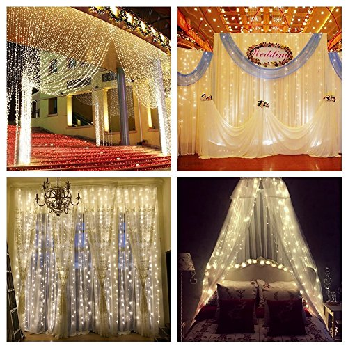 ZSTBT Linkable 304LED 9.84ft Window Curtain Lights Icicle Fairy Lights for Party Wedding Home Patio Lawn Garden (Warm White) (String Lighting)