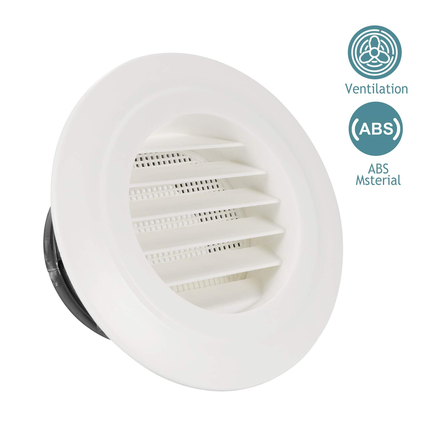 HG POWER 4 Inch Round Air Vent ABS Louver Grille Cover White Soffit Vent with Built-in Fly Screen Mesh for Bathroom Office Kitchen Ventilation