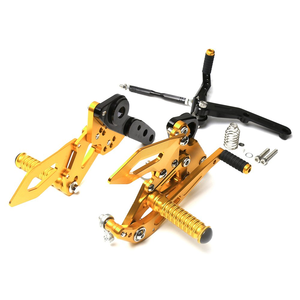 Motorcycle Accessories Racing Adjustable Rearsets Foot Pegs Rear Set For Yamaha MT-09 mt09 FZ09 fz09 2014-2017 (Gold)
