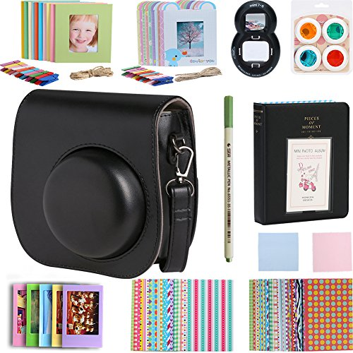 For Fujifilm Instax Mini 9 / 8 / 8+ 11 in 1 Accessories Bundle Kit, Includes Case/ Album/ Selfie Lens/ Color Close-up Lens/ Frames Set/ Photo Stickers/ Pen/ Cleaning Cloth (Black)