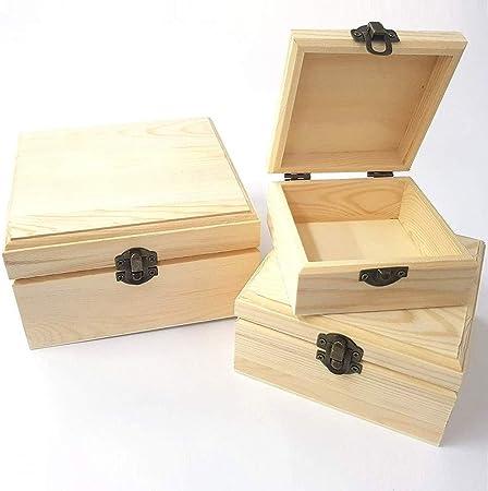TrAdE shop www.tradeshopitalia.con - Cajas Matrioska Caja 3 Piezas Cuadrada RF_53152 Madera portaobjetos: Amazon.es: Hogar