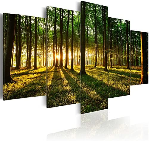 artgeist Canvas Wall Art Print Forest Nature 225×112 cm / 88.58″x44.3″ 5 pcs Home Decor Framed Stretched Picture Photo Painting Artwork Image b-B-0027-b-n