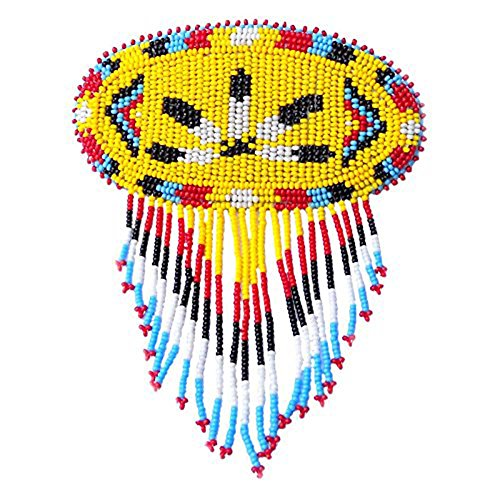 Handmade Beaded Barrette French Clip Yellow Feather Bead Work Fringe Hair Accessories 47/1