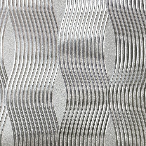 Foil Wave Wallpaper Silver Arthouse 294501