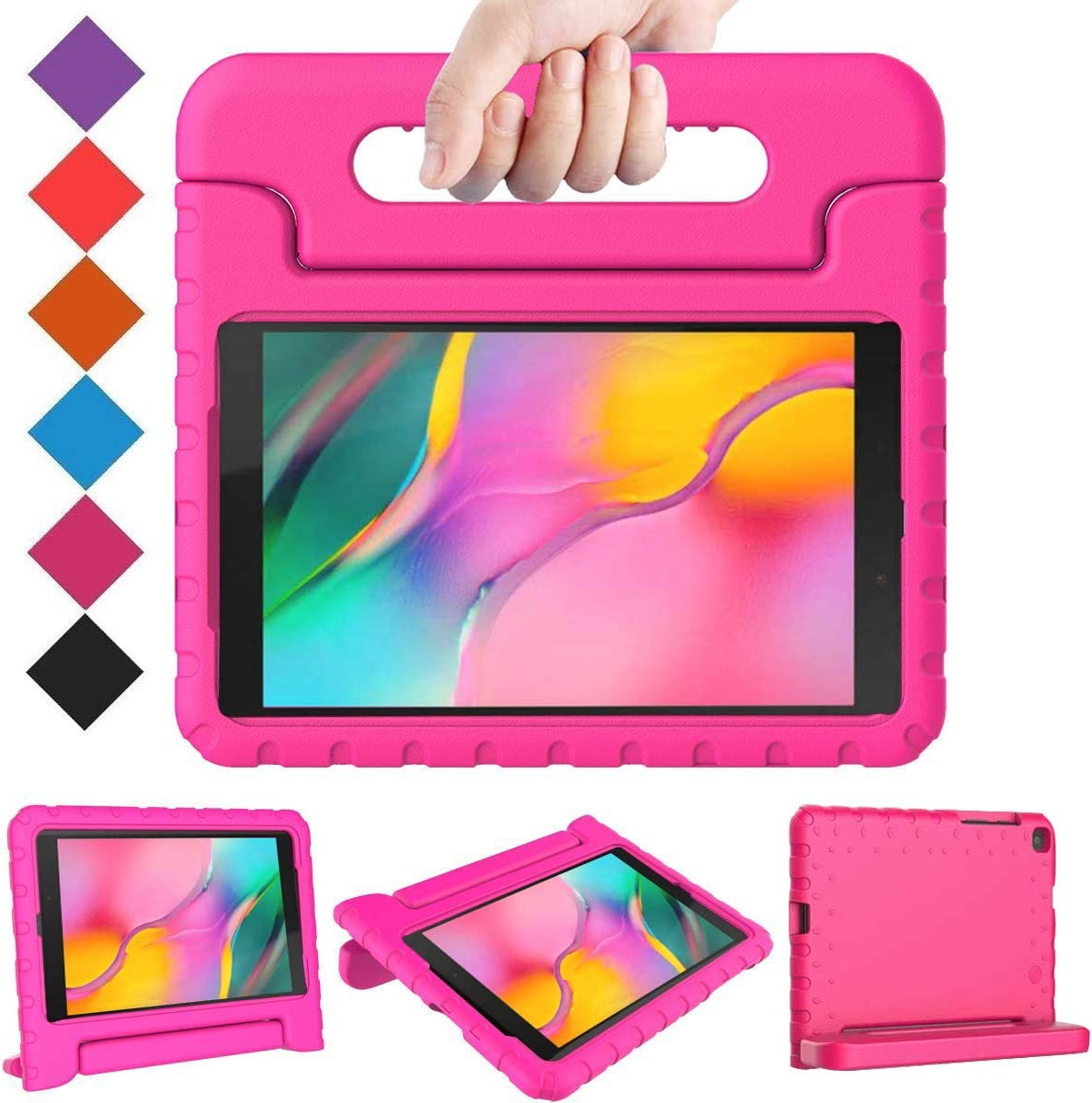 BMOUO Kids Case for Samsung Galaxy Tab A 8.0 2019 SM-T290/T295, Galaxy Tab A 8.0 Case 2019, Shockproof Light Weight Protective Handle Stand Case for Galaxy Tab A 8.0 Inch 2019 Without S Pen- Rose