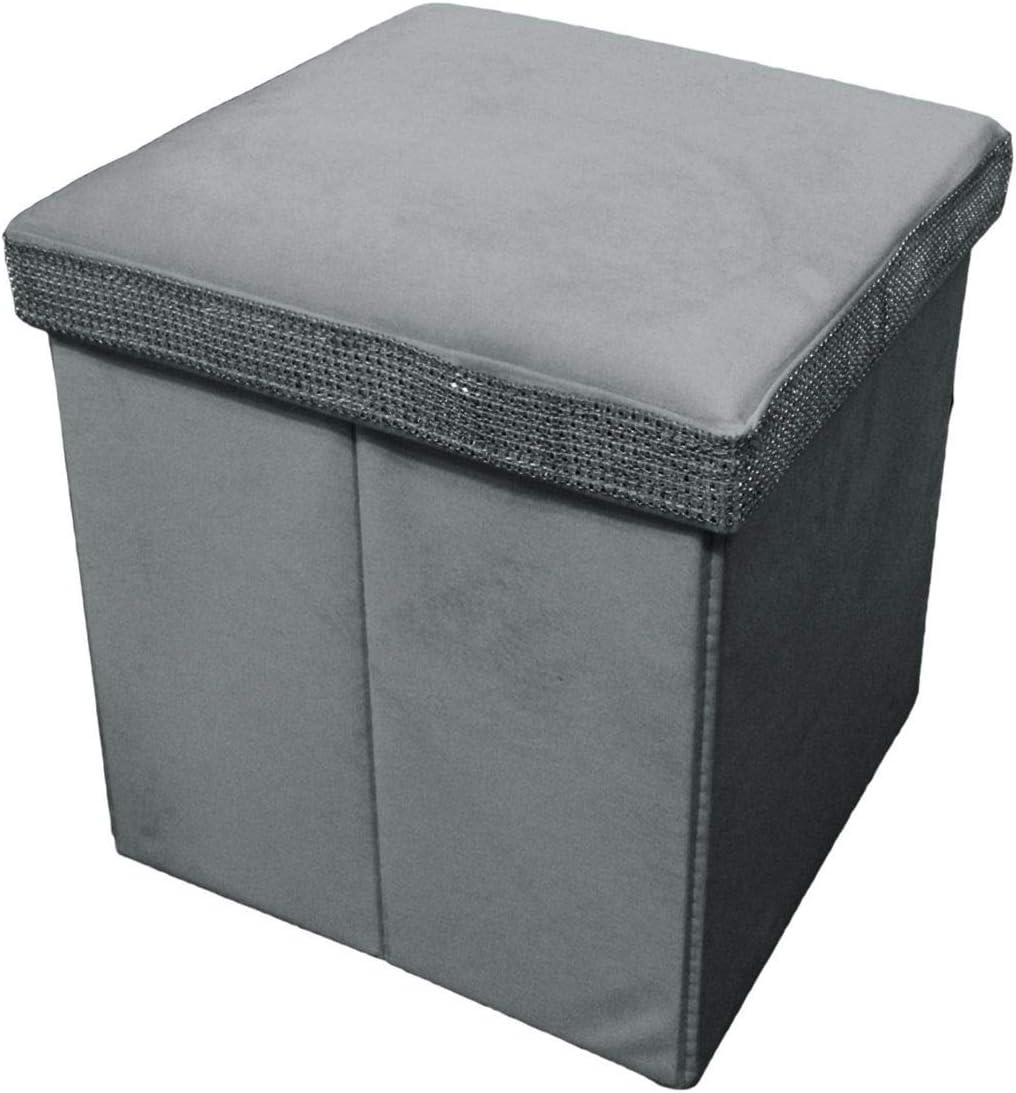Beige Russo Tessuti Pouf Puff Box Contenitore Seduta Velluto Salvaspazio Strass Brillantini
