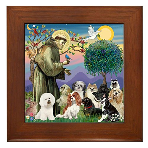 CafePress - Stfrancis-10 Dogs - Framed Tile, Decorative Tile Wall Hanging