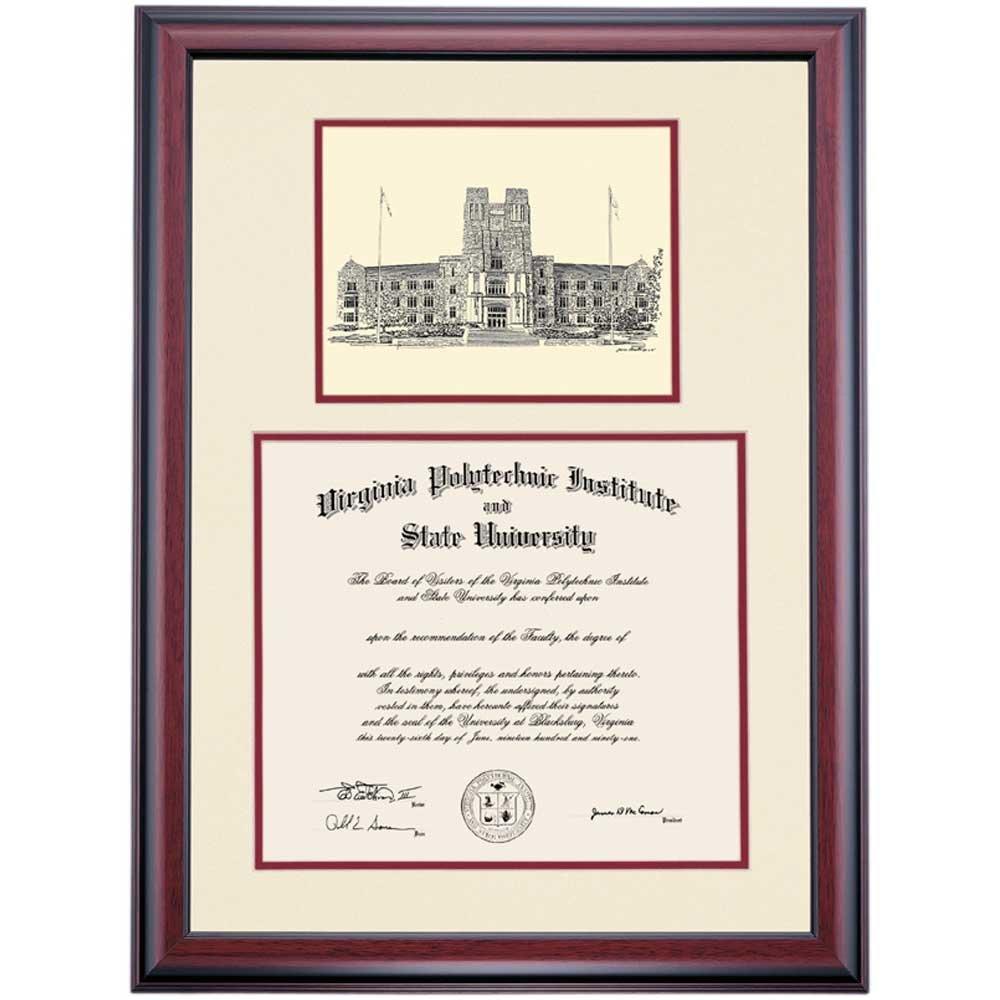 Virginia Tech VT Hokies Diploma Frame Ivory Maroon Matting Pen & Ink by Campus Linens