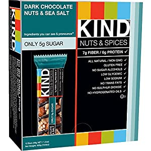 KIND Bars, Dark Chocolate Nuts & Sea Salt, Gluten Free, 1.4 Ounce Bars, 12 Count (Pack of 2) by KIND