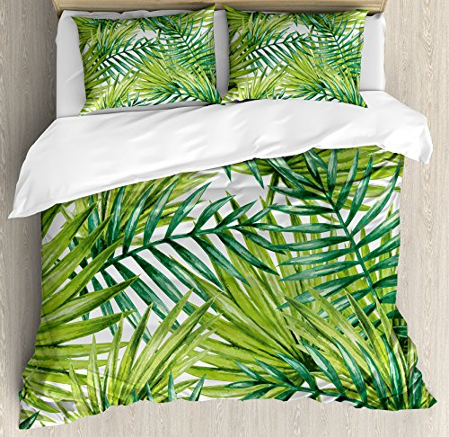 Ambesonne Plant Duvet Cover Set Queen Size, Watercolor Tropical Palm Leaves Colorful Illustration Natural Feelings, Decorative 3 Piece Bedding Set with 2 Pillow Shams, Lime Green