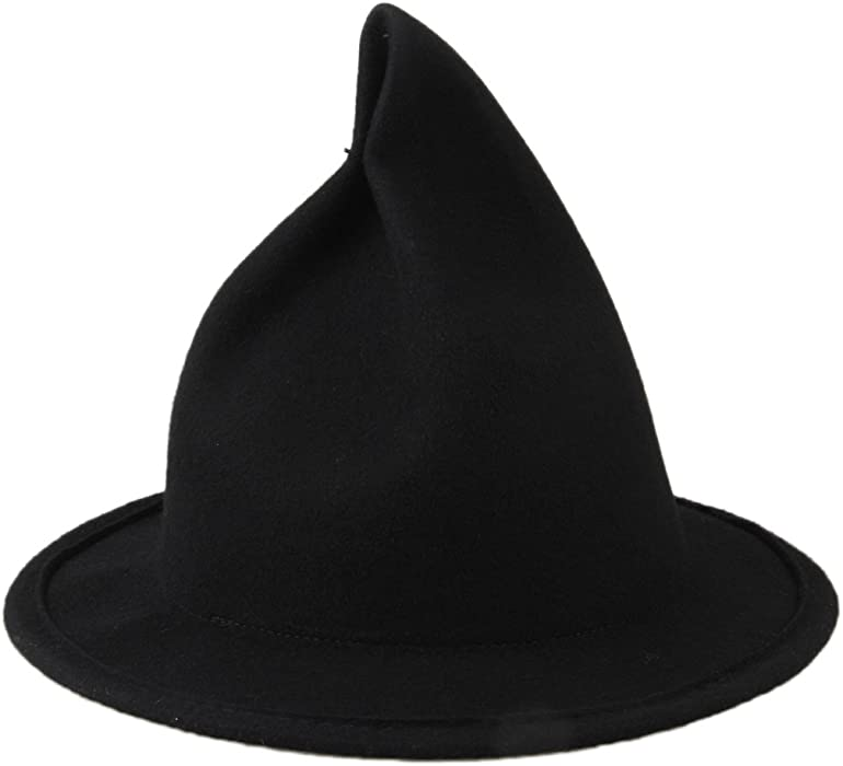 Dantiya Women s Wool Felt Candy Colored Sharp Pointed Witch Hat (Black) 309b8f4463eb