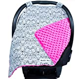 Carseat Canopy with Pink Minky - Best Car Seat Canopy for Popular Baby Carseat Models. Covers All Popular Car Seats. Breathable Soft Pink Minky Fleece Fabric.