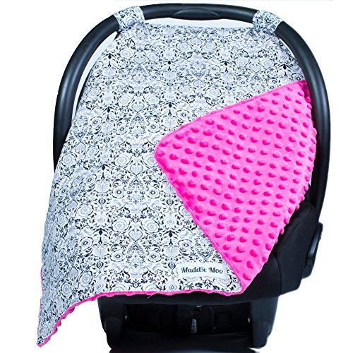Carseat Canopy with Pink Minky - Best Car Seat Canopy for Po