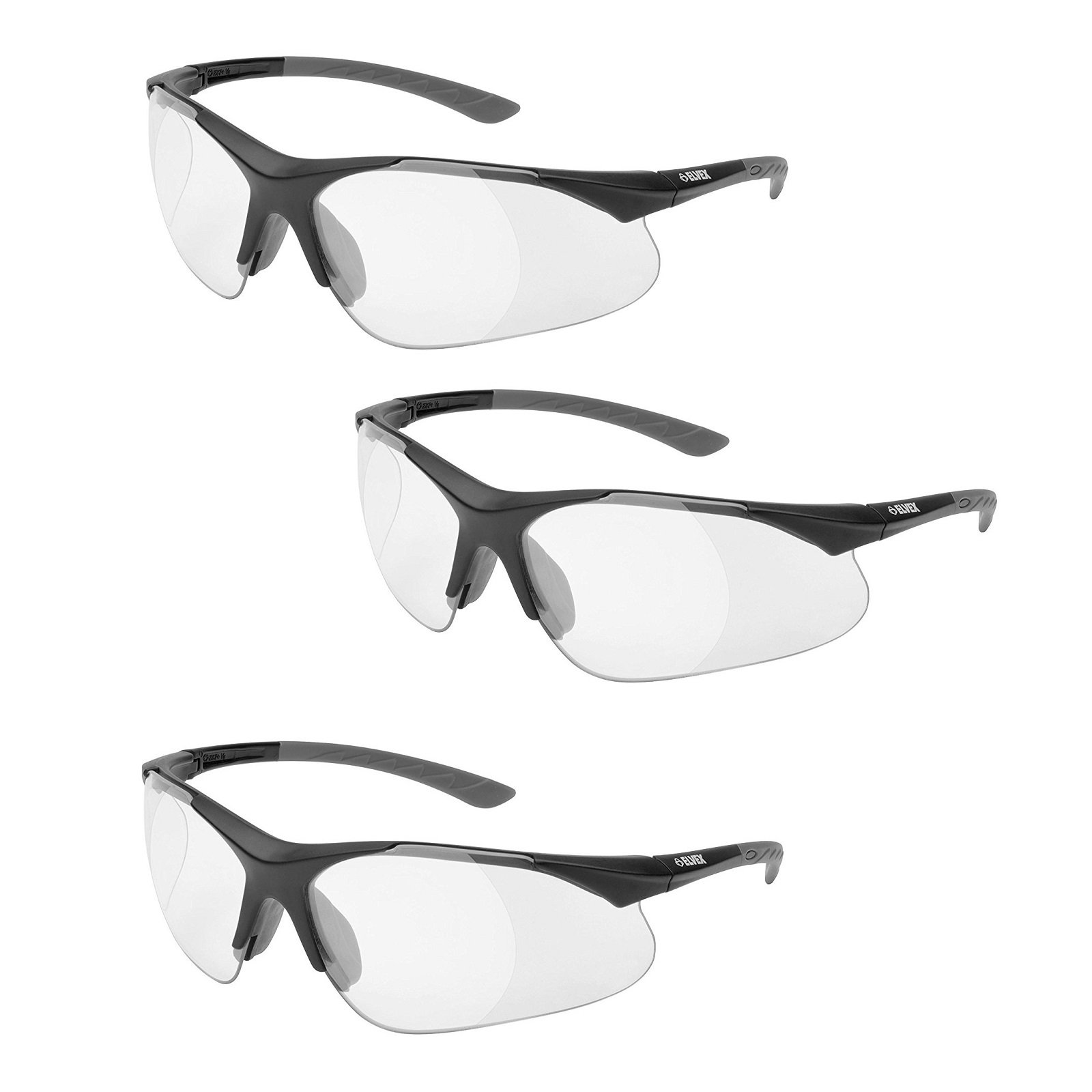 Elvex RX-500C-2.0 Full Lens, Black Frame /Grey Temple Tips 3-pairs by Elvex