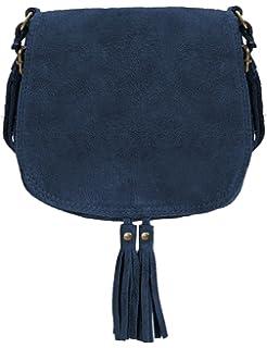 61f32c18f6a9 Ledertasche dunkel blau klein Lederhandtasche Umhängetasche Fransen echt  Leder Tasche Wildleder Handtasche Vintage Damen 5-