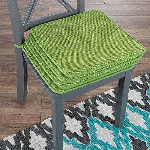"Lavish Home 82-TEX1044GN Chair Cushions-Set of 4 Square Foam x 16"", Green"