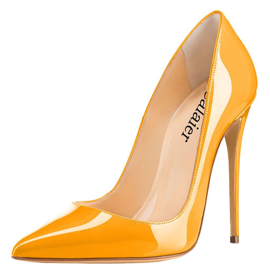 Calaier Mujer Cahen Tacón De Aguja 12CM Sintético Ponerse Zapatos de Tacón 38.5 EU|Naranja