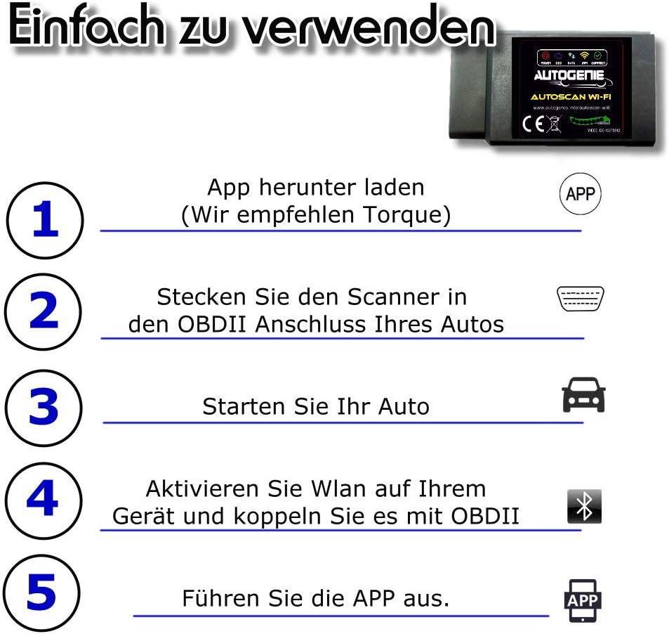 Autogenie/© Blue 2021 OBD2 Mini Diagnostic Device Torque Auto Car Passenger Car OBD 2 Bluetooth Error Memory Read and Erase