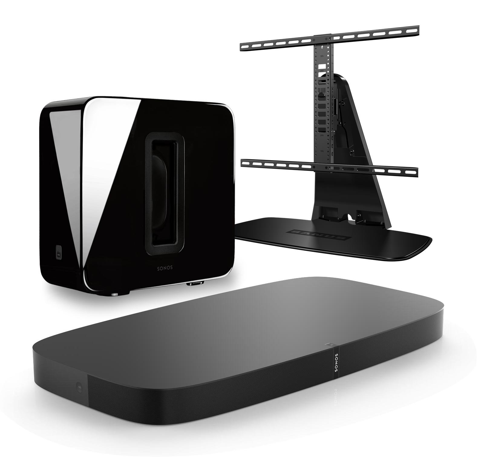 Sonos 3.1 Home Theater Digital Music System Bundle (PLAYBASE, SUB) Black & Sanus WSTV1-B1 Swivel TV Base Mount for Sonos PLAYBASE by Sonos