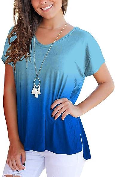 OPAKY Camiseta de Manga Corta con Cuello en V y Degradado en Color para Mujer Camiseta Basica Mujer Casual Sudadera Manga Larga Primavera Blusa Fiesta Mujer Navidad Camisa Oficina Suelto Invierno: Amazon.es: