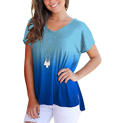 d8b419a00bf3 Amazon.com: TnaIolral Women Tops Short Sleeve V-Neck Gradient Colour ...