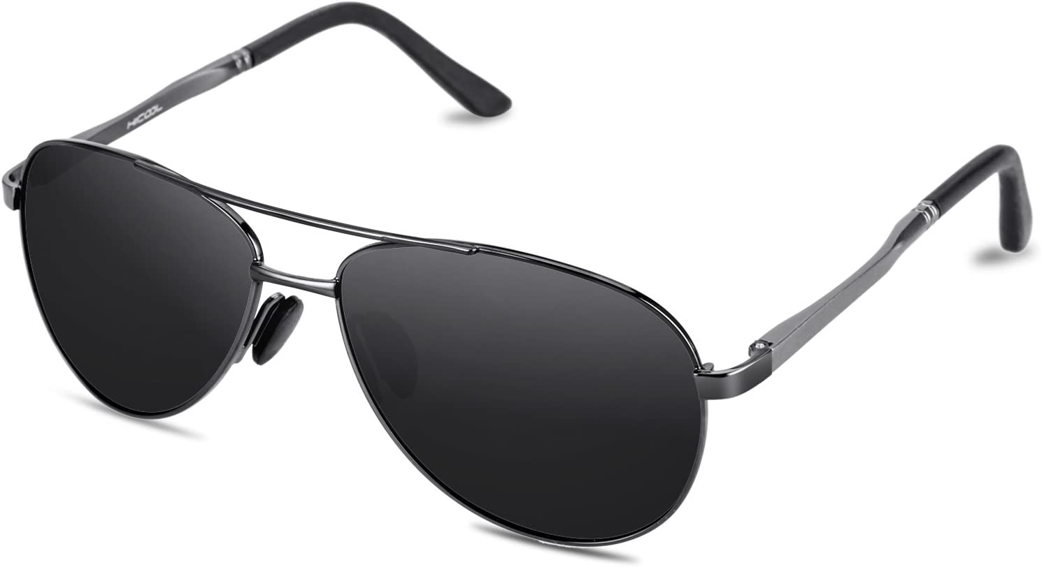 HiCool Sunglasses for Women Men Polarized UV Protection Vintage Sport Oval Fit Over Small Face