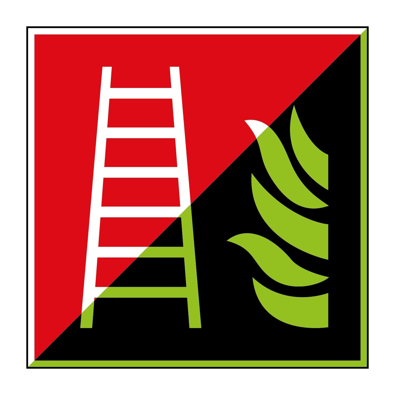 Feuerleiter Brandschutzzeichen 200x200mm - lang nachleuchtend - Folienschild selbstklebend - gem. ASR 1.3, DIN ISO 7010 (F003) Canosign Werbetechnik