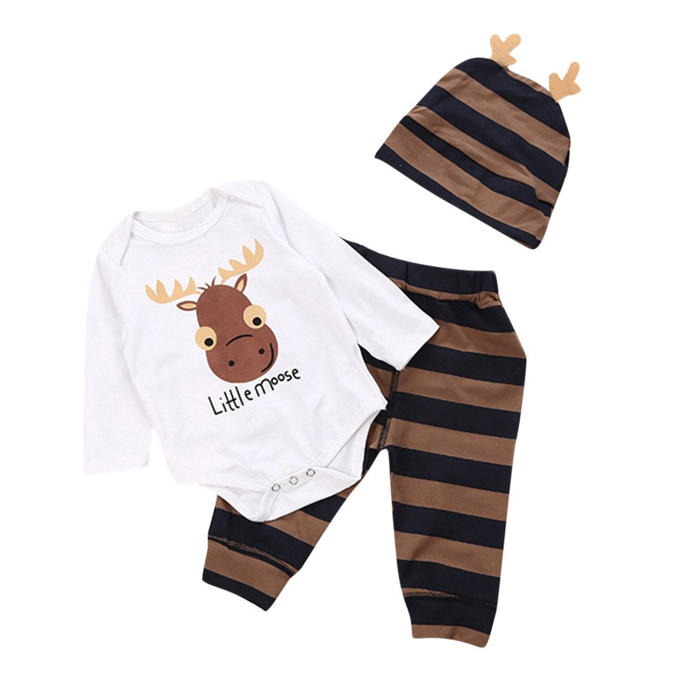FIged Baby Winter Clothes, Cute Style Little Moose Stripe Pant Hat Playsuit Kids