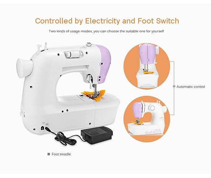 Mini Automático Maquína de Coser con LED Manual Herramienta de Costura Doble Control de Velocidad con 12 Puntadas Diferentes Portatil Máquina Puntada: ...