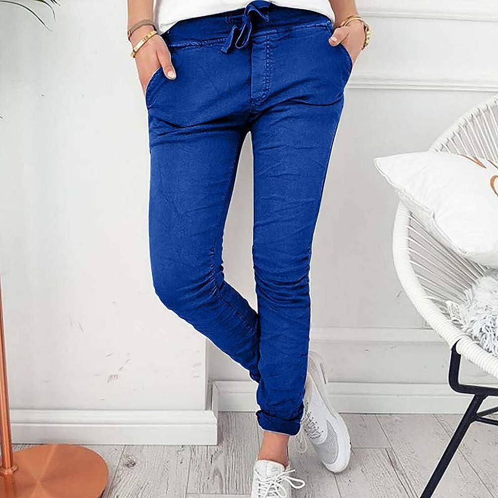 RISTHY Pantalones Largos Mujer Flacas Pantalones Corbata Cintura ...