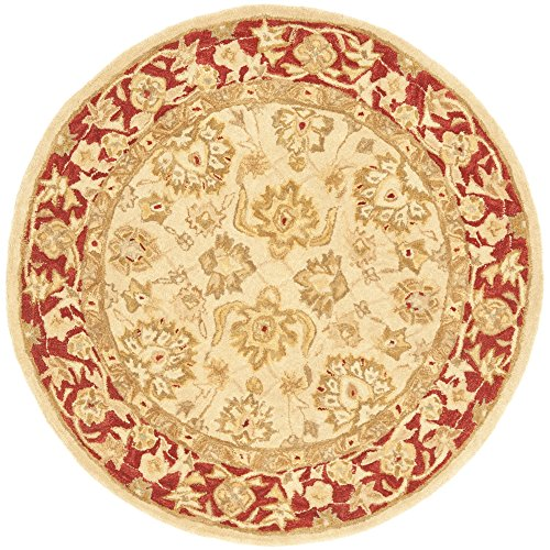 Safavieh Anatolia Collection AN522C Handmade Traditional Oriental Ivory and Red Wool Round Area Rug (4′ Diameter)