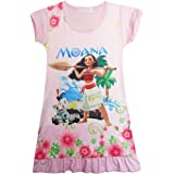 KIDHF Moana Comfy Loose Fit Pajamas Girls Printed Princess Dress Cartoon Pjs