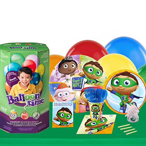 (Super Why Childrens Birthday Party Supplies - Tableware Party Pack with Helium)