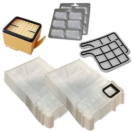 Kit de 12 Bolsas (Microfibra) + 12 ambientadores + Filtro HEPA/EPA + 2 filtros de Motor para aspiradora Vorwerk Folletto Kobold VK 135, 136, VK135, ...