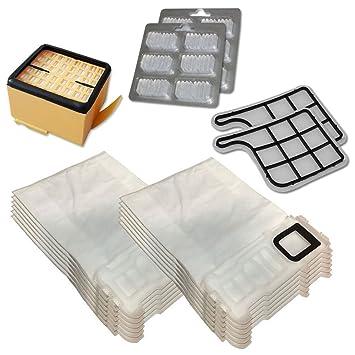 Kit de 12 bolsas (microfibra) + 12 ambientadores + filtro HEPA/EPA + 2 filtros de motor para aspiradora Vorwerk Folletto Kobold VK 135, 136, VK135 y ...