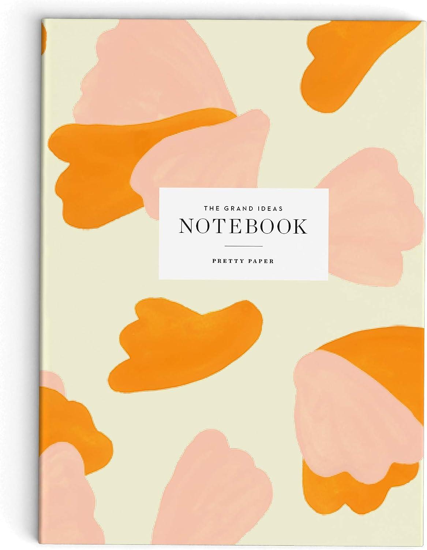 Skandinavisches Cuaderno A5, en blanco, tapa blanda, 148 x 210 mm, 64 p/áginas A5 color Coral y oro