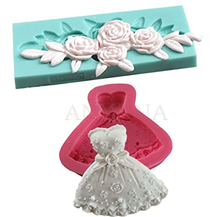 Anyana 2pcs 3D Lady Princess Dress Wedding&Flower Embosser Silicone Fondant Mold Cake Decorating Pastry Baking Mould