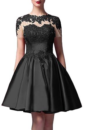 Gorgeous Bridal Gentle Evening Prom Dresses Lace Applique Jewel Short- US Size 2