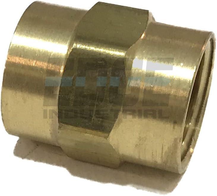 AIR// Water Qty 05 Oil// Gas WOG EDGE INDUSTRIAL Brass Coupling 1//2 Female NPT FNPT Fuel