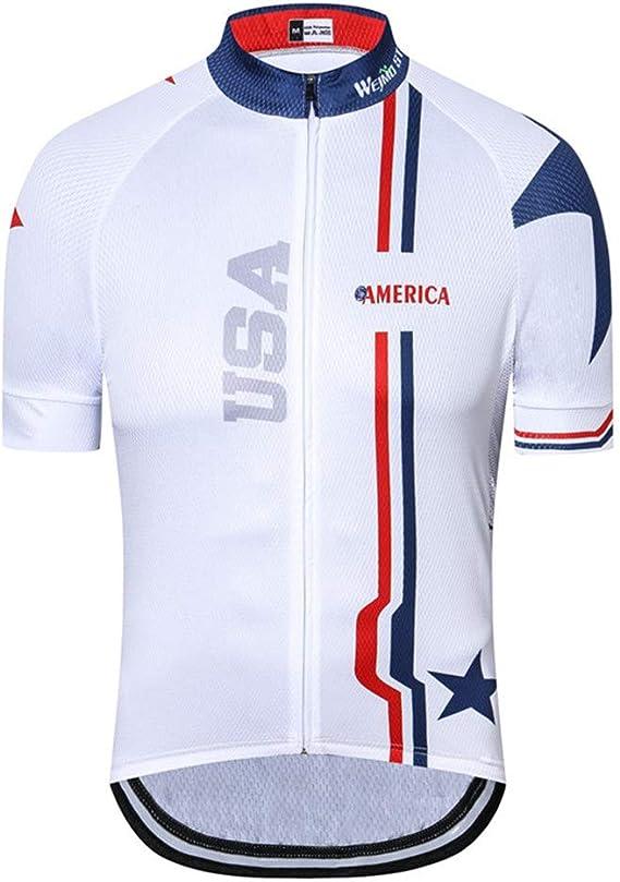 JPOJPO Men's USA Cycling Jersey Short Sleeve Biking Shirts Summer American Bicycle Tops