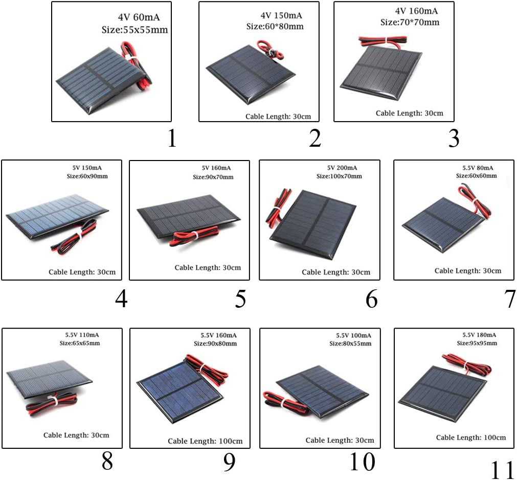 VANKOA Kleine Solarmodul Solarpanel Solarzelle Solarladeger/ät und mit Kabel A 4V 55x55mm
