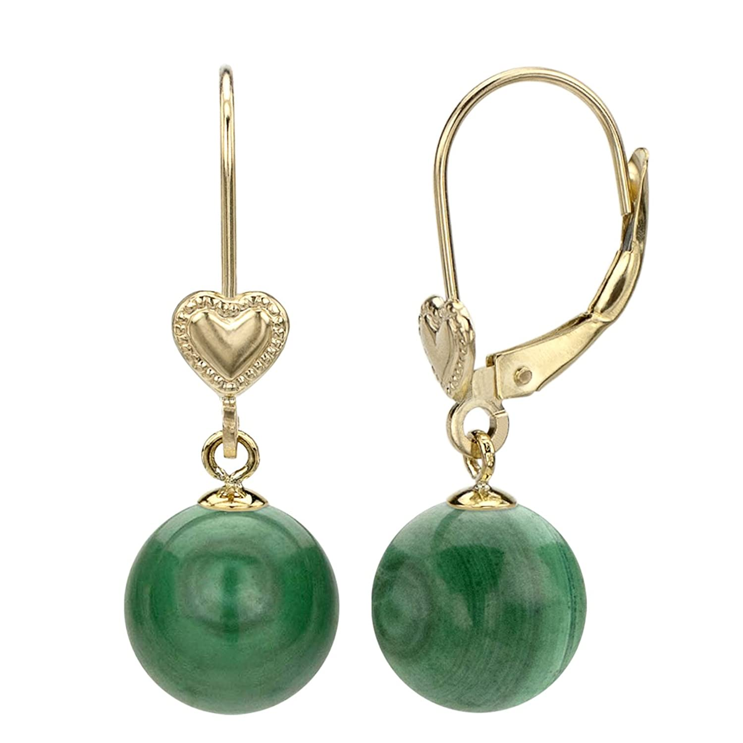 14k Yellow Gold 8-8.5mm Round Simulated Green Malachite Heart Design Lever-back Earrings