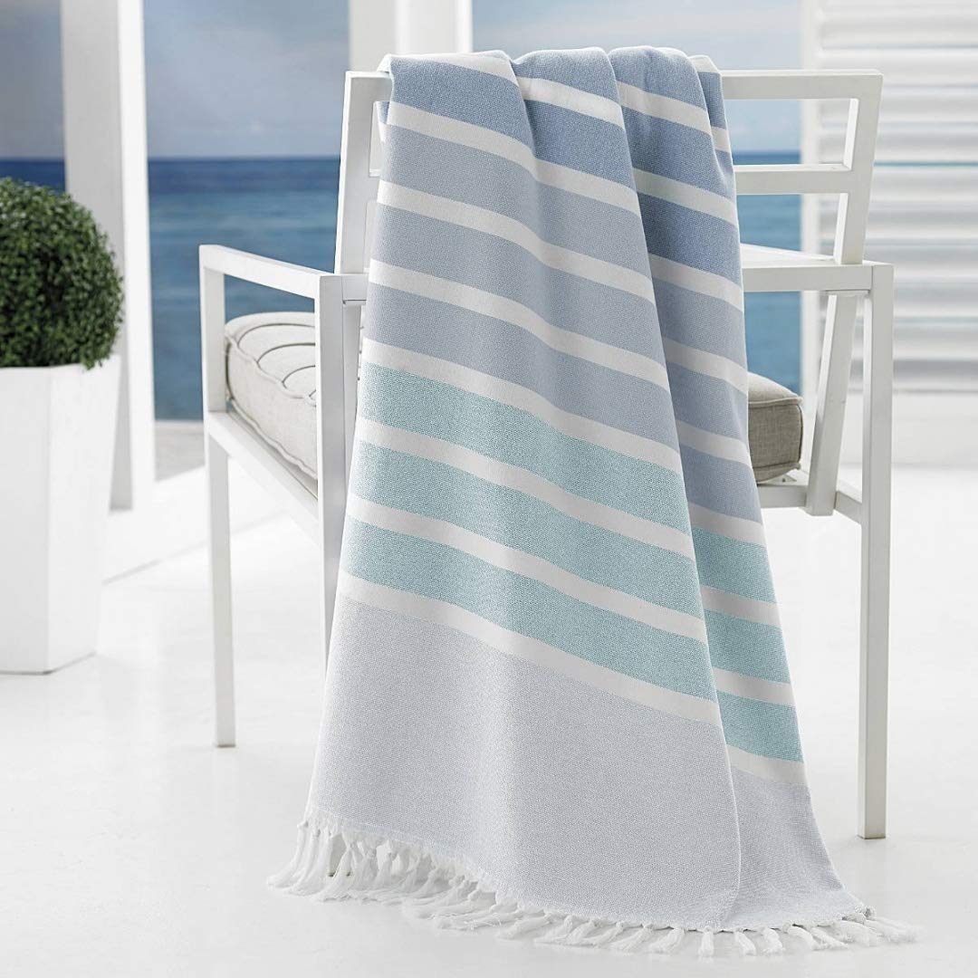 Kassatex Bodrum Beach Towels Collection, Set of 2 - Aqua