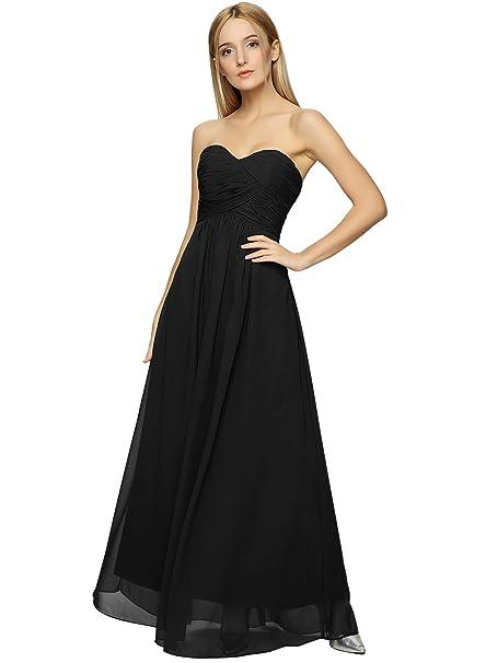 ASVOGUE Mujer Vestido Maxi de Noche sin Tirantes de Gasa para Damas de Honor, Negro
