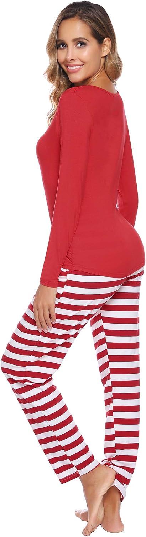 Long Sleeve T-Shirt and Stripe Long Pants Homewear Sleepwear for Women Men Kids Baby Pjs iClosam Family Matching Pyjamas Set Christmas Pyjamas