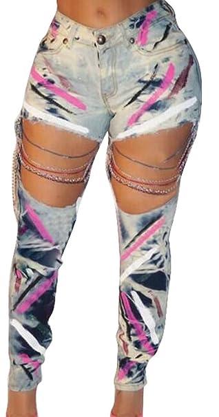 Amazon.com: Pantalones vaqueros para mujer sexy con cadena ...